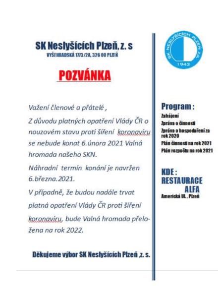 Pozvánka SK Neslyšících Plzeň, z.s.